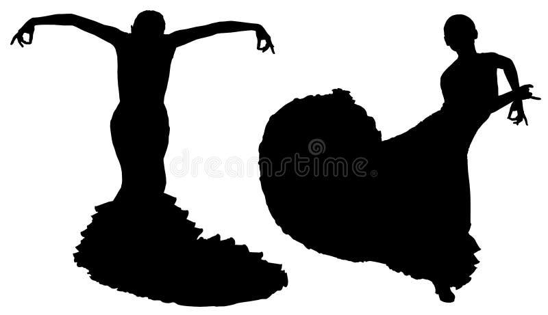 Dwa czarnej sylwetki żeński flamenco tancerz ilustracji