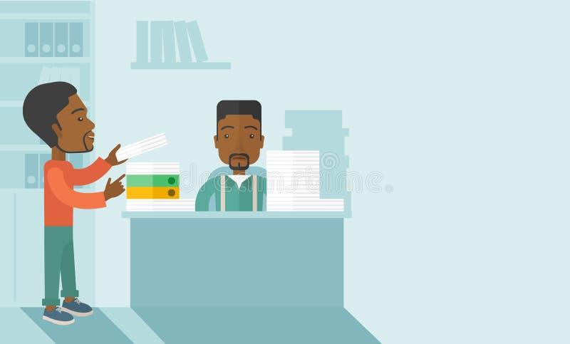 Dwa czarny biurowy urzędnik wśrodku biura ilustracja wektor