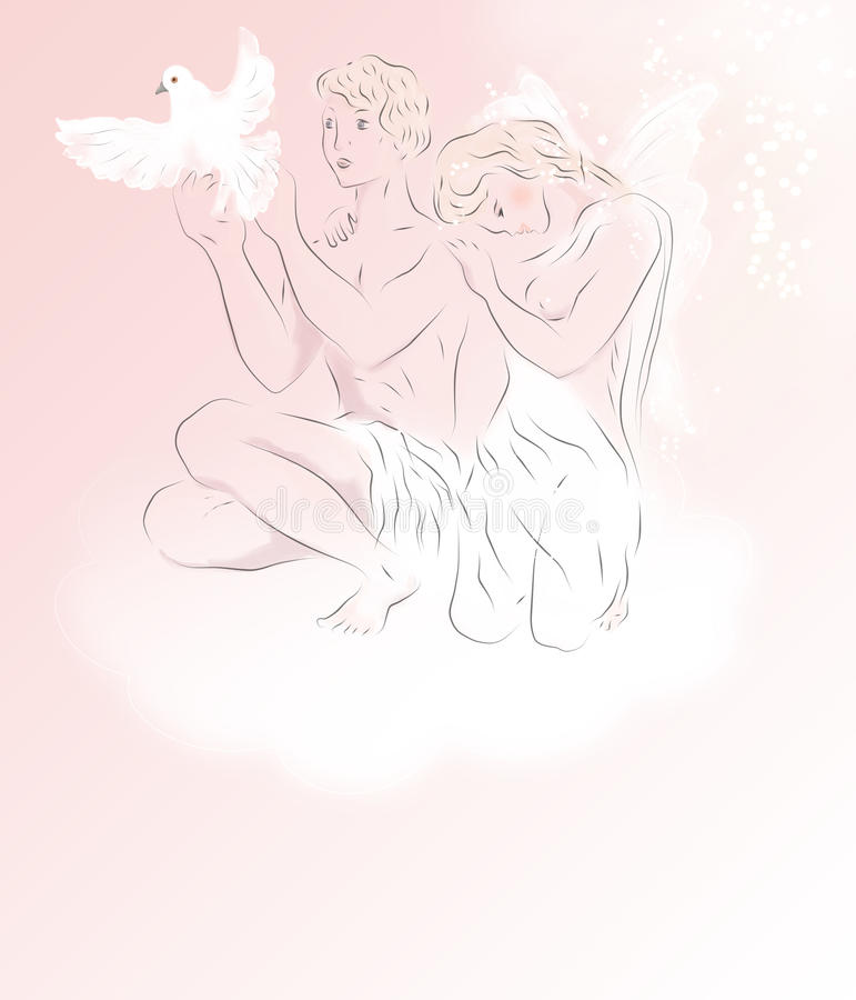 Dwa czarują białego anioła z gołębiem ilustracji