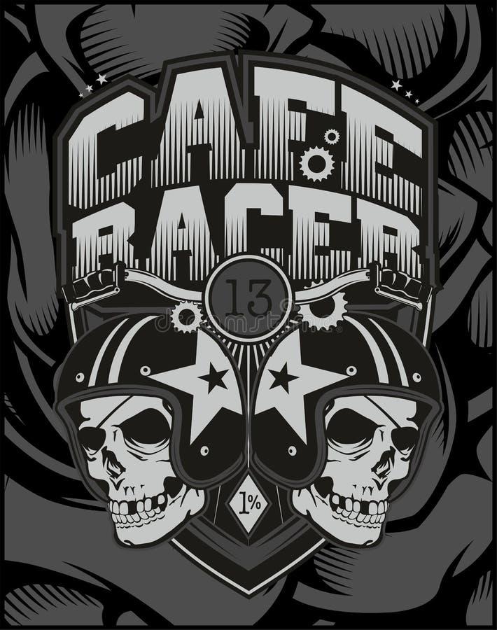 Dwa czaszek hełma kawiarni setkarz ilustracja wektor