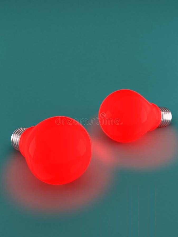 Dwa czerwone światło żarówki obraz stock