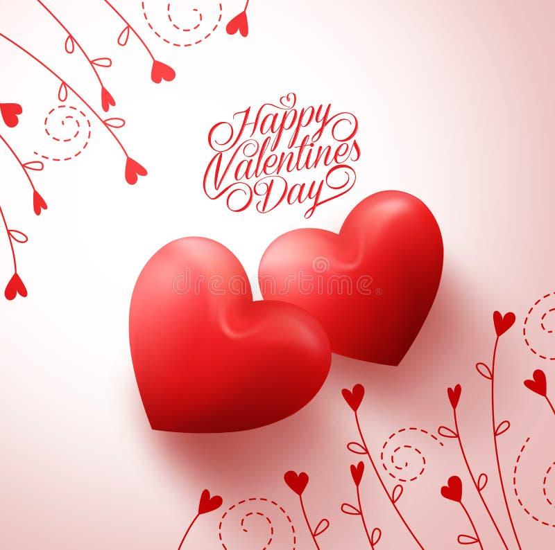 Dwa Czerwonego serca dla kochanków z Szczęśliwymi walentynka dnia powitaniami royalty ilustracja