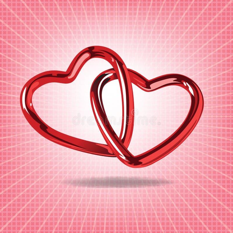 Dwa czerwonego serca stal łączyli wpólnie realistycznego illustr ilustracja wektor