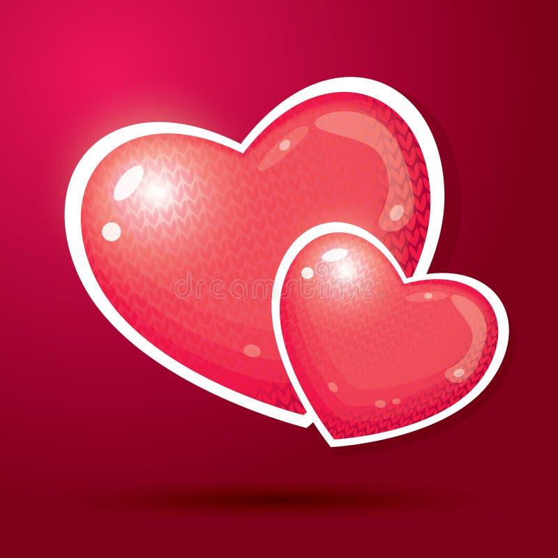 Dwa Czerwonego serca z Trykotowym wzorem ilustracji