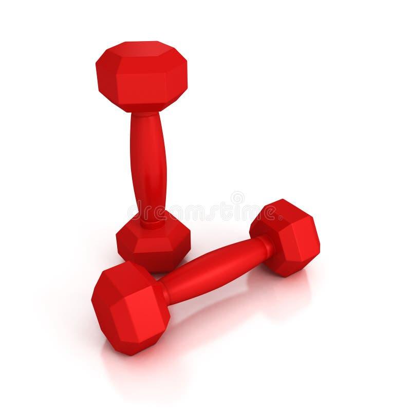 Dwa czerwonego wagi lekkiej dumbbells na białym tle obrazy stock