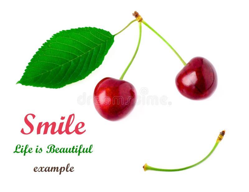 Dwa czerwonej wiśni z żółtą zielenią leaf na białym tle Uśmiechu pojęcie Don ` t zmartwienie był szczęśliwy obrazy stock