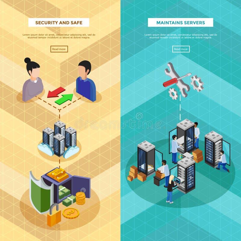 Dwa Datacenter Isometric Pionowo sztandaru royalty ilustracja