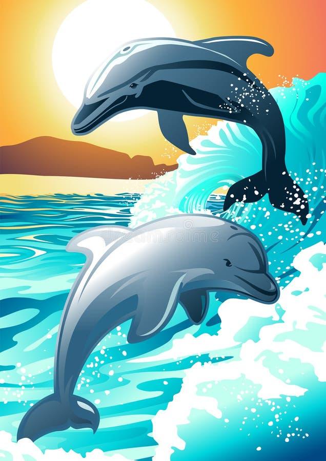 Dwa delfinów dopłynięcie przy plażą przy wschodem słońca royalty ilustracja