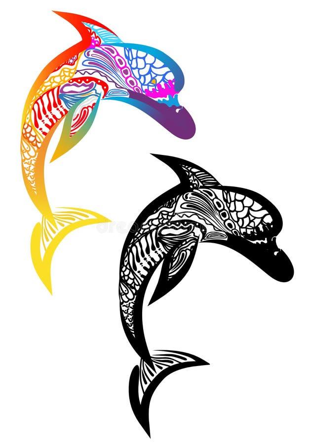 Dwa delfinów tatuaż ilustracji