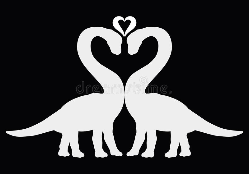 Dwa dinosaura wpólnie, serce i, sylwetki na czarnym backgro ilustracji
