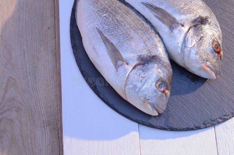 Dwa dorado ryba na czarnym talerzu obrazy stock