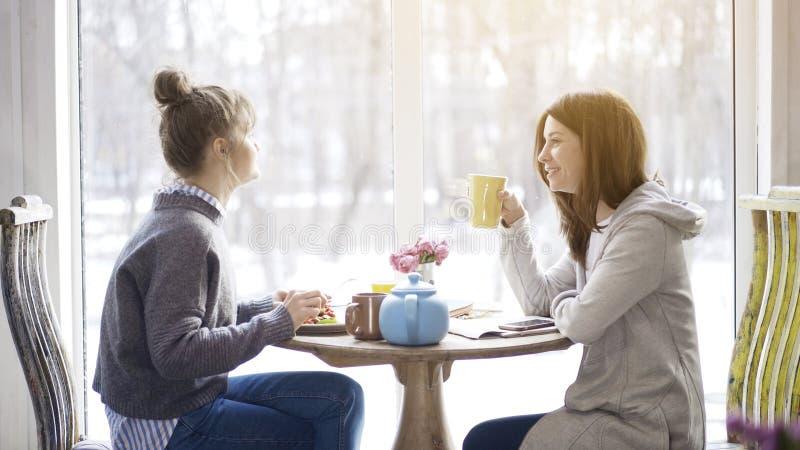 Dwa dorosłej kobiety przyjaciela je herbaty w kawiarni i pije zdjęcie royalty free