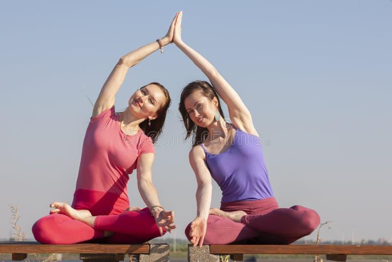 Dwa dorosłej kobiety starzeli się joga outdoors w lecie w parku fotografia stock