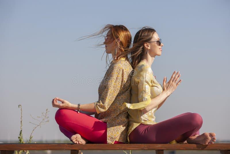 Dwa dorosłej kobiety starzeli się joga outdoors w lecie w parku zdjęcie royalty free