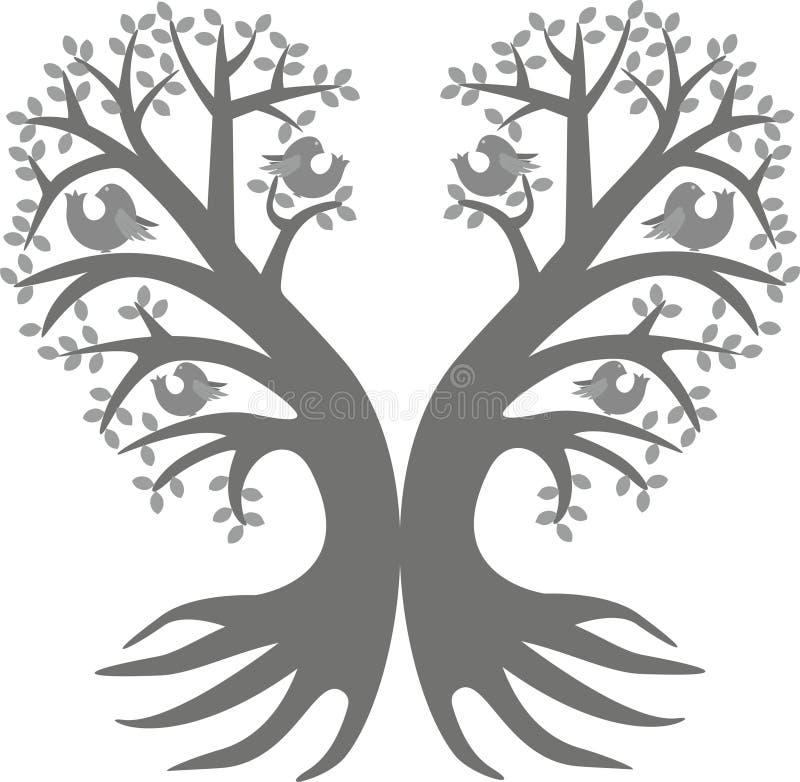 Dwa drewna serce ilustracji
