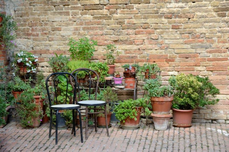 Dwa drewnianego garnka z roślinami i krzesła obrazy royalty free