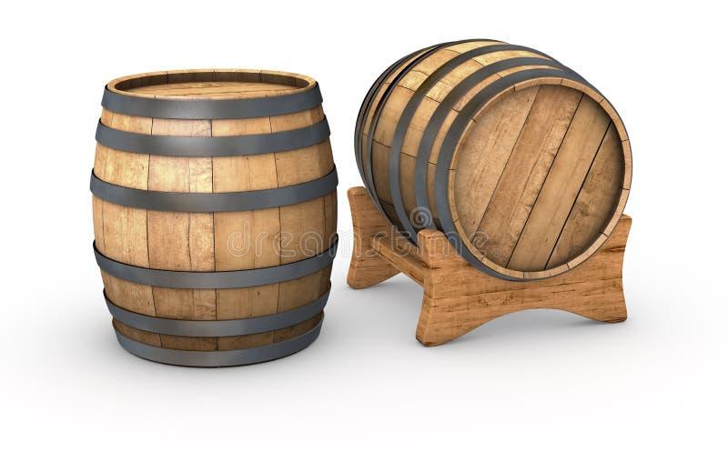Drewniane baryłki ilustracja wektor
