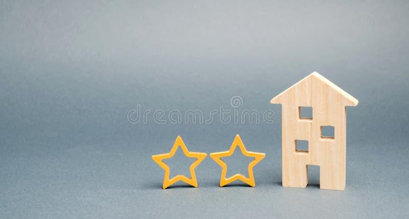 Dwa drewnianej gwiazdy i dom Dwa gwiazdowy hotel lub restauracja Przegl?d krytyk Ilo?? us?uga i poziom us?uga _ fotografia stock