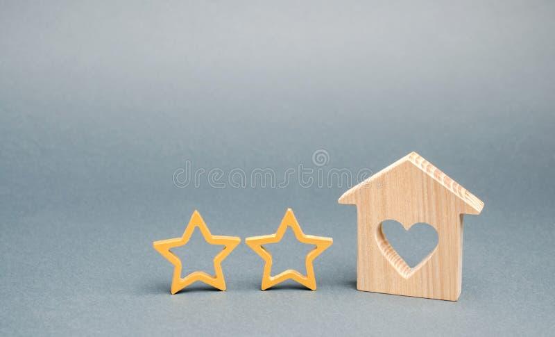 Dwa drewnianej gwiazdy i dom Dwa gwiazdowy hotel lub restauracja Przegl?d krytyk Ilo?? us?uga i poziom us?uga _ zdjęcie royalty free