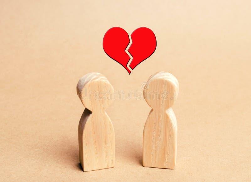Dwa drewnianej postaci i czerwonego złamane serce nad one Pojęcie łamań związki miłość pary Kochankowie Non- fotografia stock