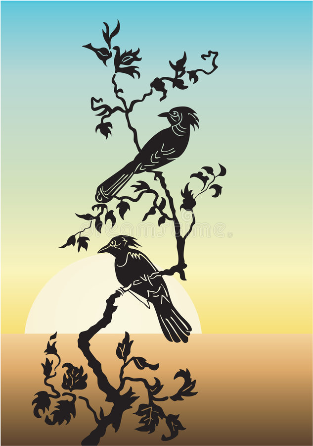 dwa drzewa ptaka ilustracja wektor