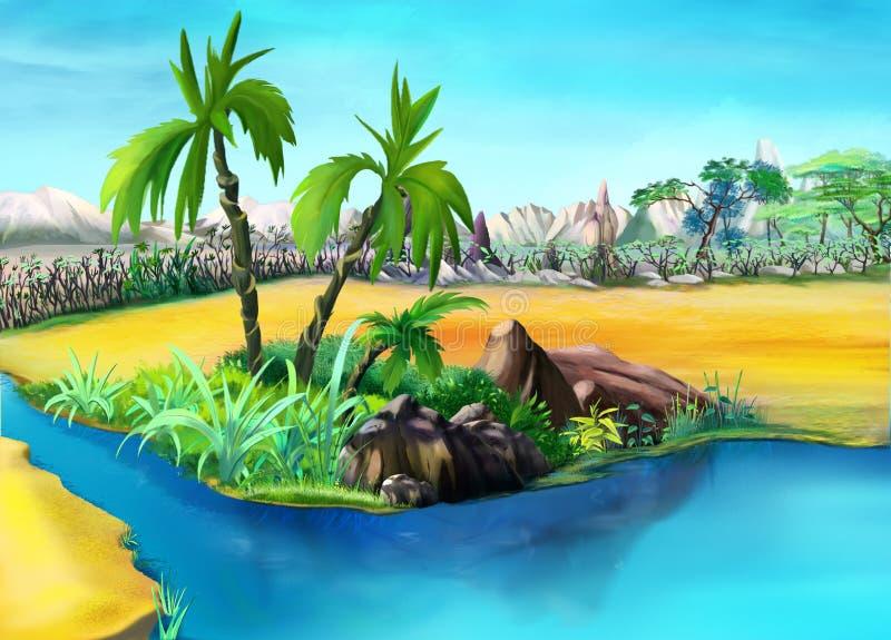Dwa drzewka palmowego w Pustynnej oazie dzień ilustracja wektor