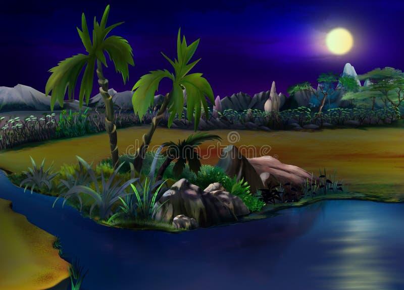 Dwa drzewka palmowego w Pustynnej oazie noc ilustracji
