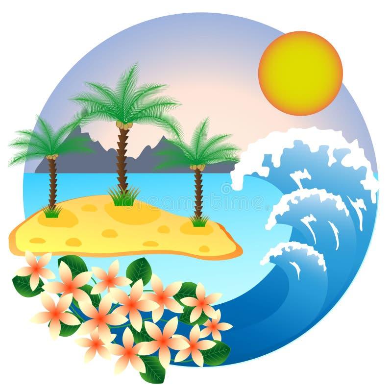 Dwa drzewko palmowe na tropikalnej wyspie royalty ilustracja