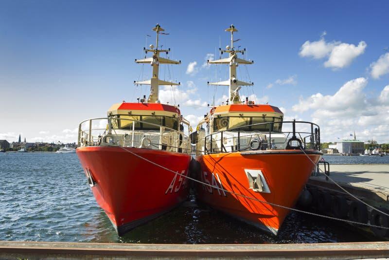 Dwa Duńskiego królewskiego statku wojennego zdjęcia royalty free