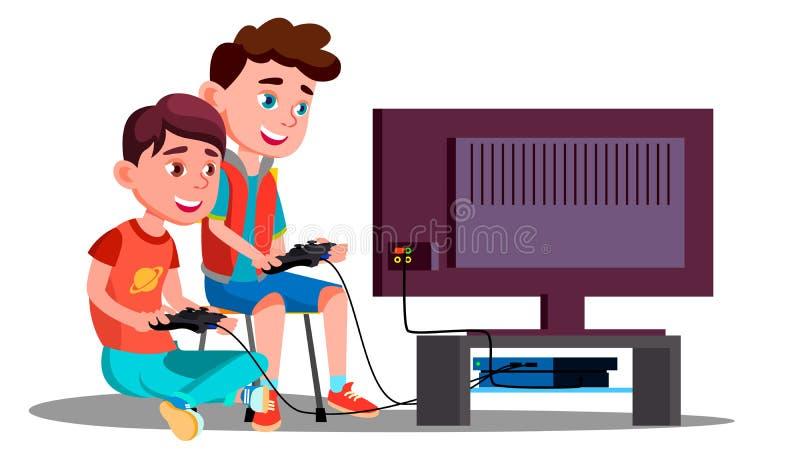 Dwa dzieci chłopiec sztuka Wideo gry wektor button ręce s push odizolowana początku ilustracyjna kobieta royalty ilustracja