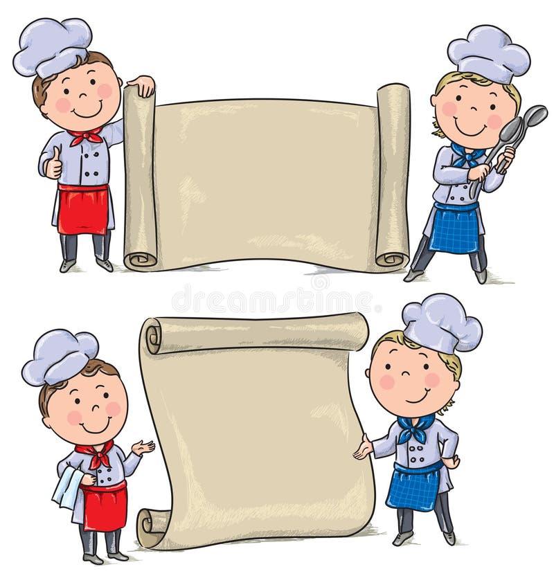 Dwa dzieciaków śmieszny kucharz z sztandar ślimacznicą ilustracja wektor