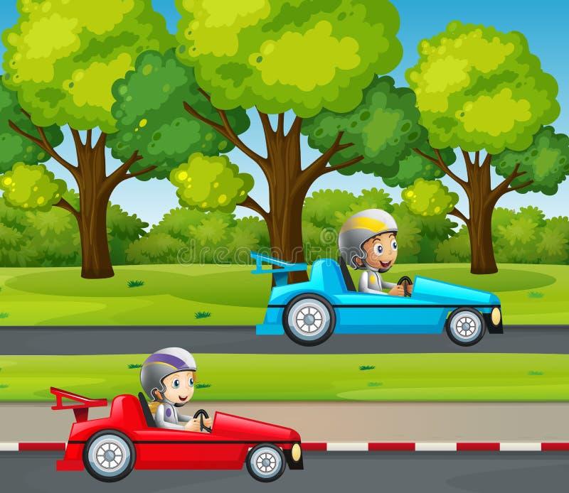 Dwa dzieciaków bieżny samochód w parku ilustracja wektor