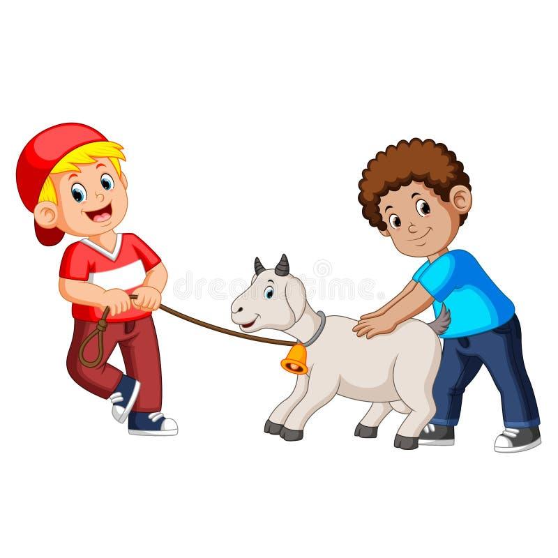 Dwa dzieciaka bawić się z kózką royalty ilustracja