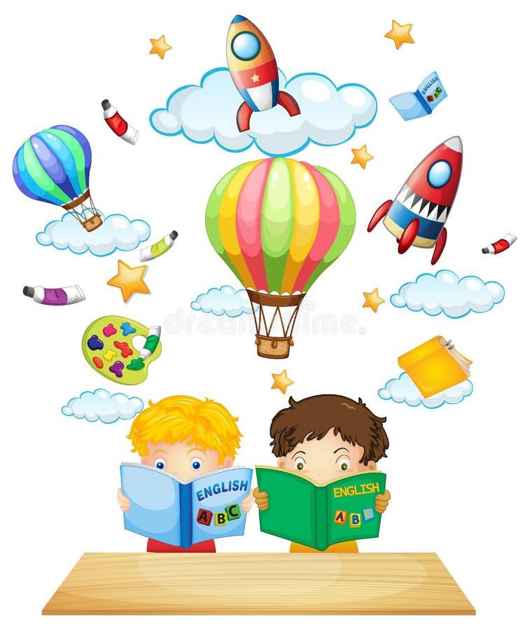 Dwa dzieciaka czyta anglikom książki ilustracji