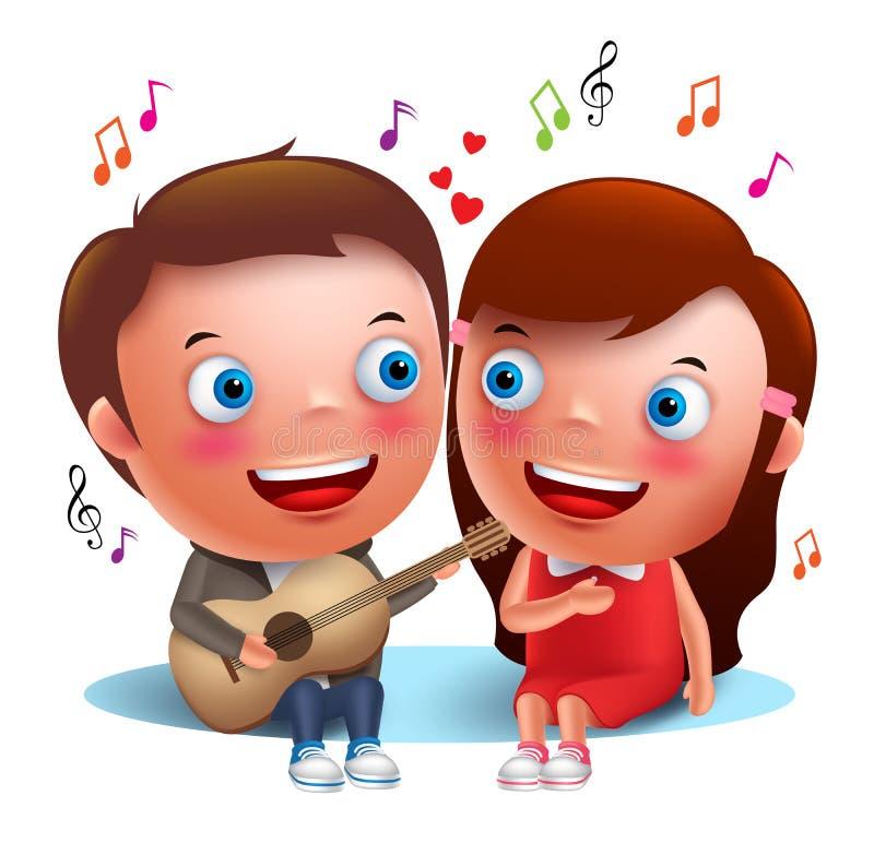 Dwa dzieciaka dobierają się szczęśliwą śpiewacką serenadę z gitarą dla valentines ilustracja wektor
