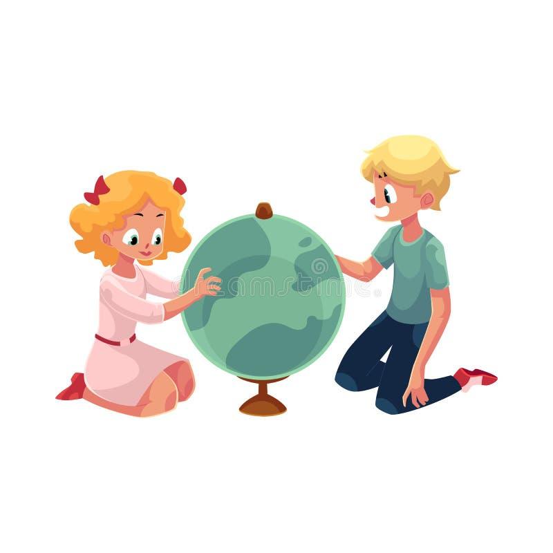 Dwa dzieciaka, dzieci studiuje kulę ziemską wpólnie ilustracja wektor