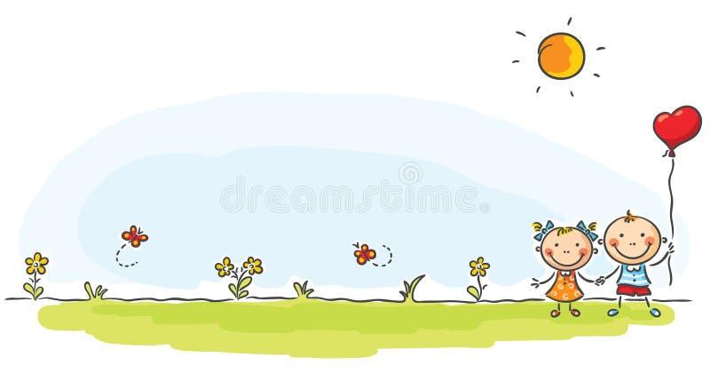 Dwa dzieciaka na zielonej łące ilustracji