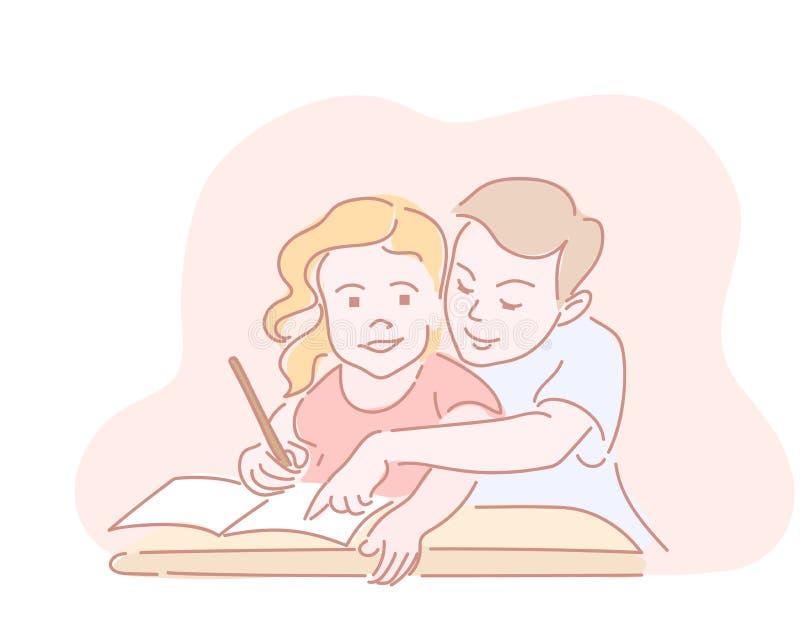 Dwa dzieciaka pisze pracie domowej w worksheet dla szkoły royalty ilustracja