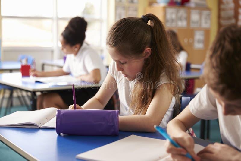 Dwa dzieciaka pracuje przy ich biurkami w szkole podstawowej, uprawa strzał obraz royalty free