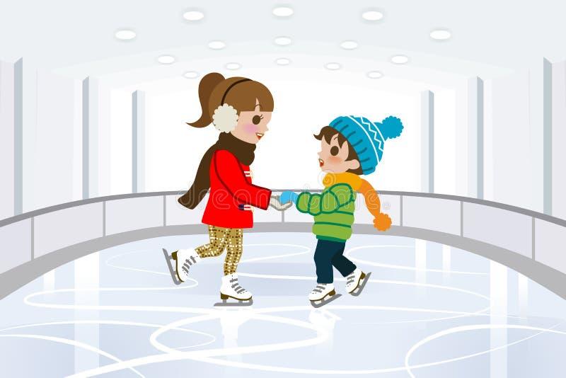 Dwa dzieciaka w Salowym łyżwiarskim lodowisku royalty ilustracja