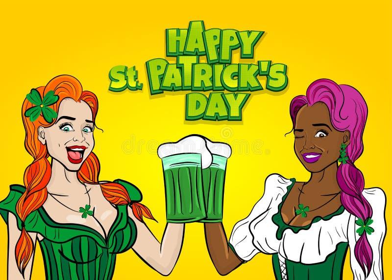 Dwa dziewczyn chwyta piwnego ale Patrick szklany dzień royalty ilustracja