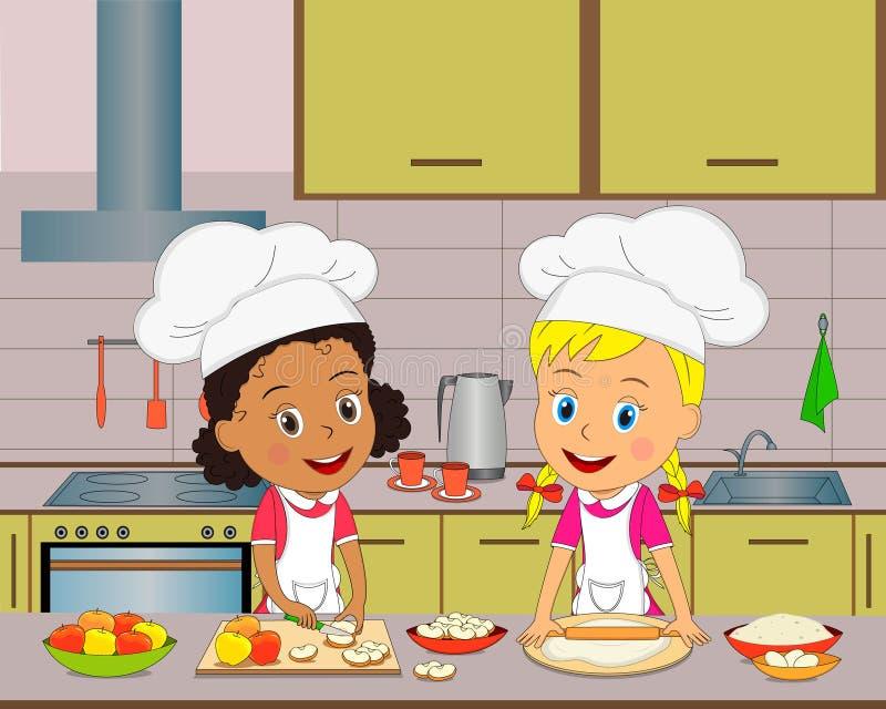Dwa dziewczyn kucharz na kuchni royalty ilustracja