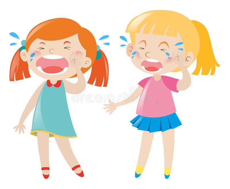 Dwa dziewczyn nieszczęśliwy płakać royalty ilustracja