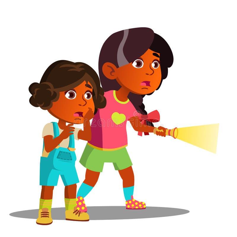 Dwa dziewczyn Przestraszący Indiański połysk Z latarka wektorem button ręce s push odizolowana początku ilustracyjna kobieta ilustracja wektor