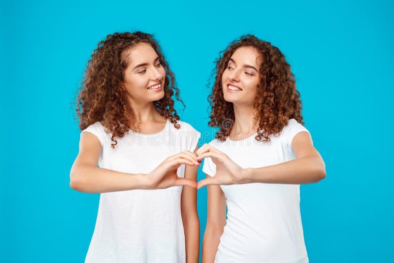 Dwa dziewczyna bliźniaka pokazuje serce z rękami nad błękitnym tłem obraz stock