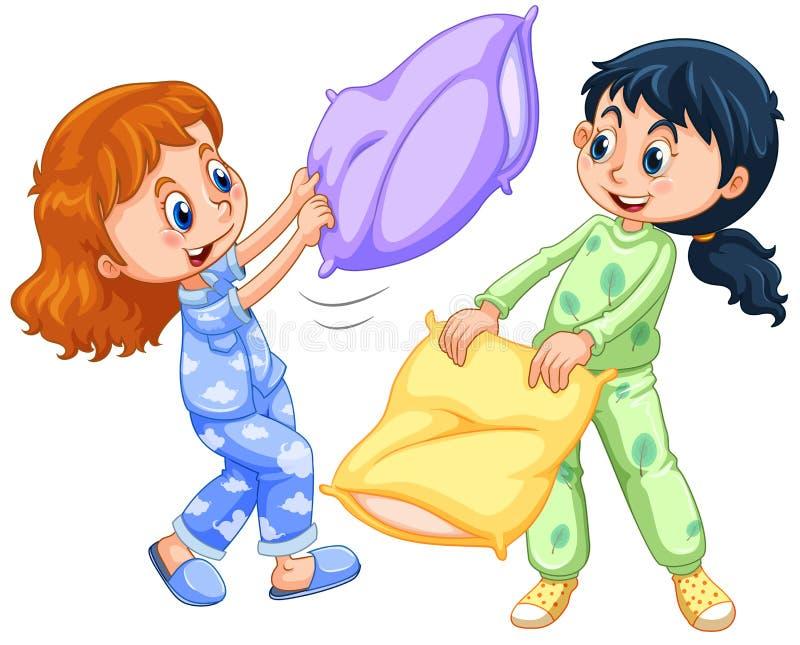Dwa dziewczyny bawić się poduszki walkę przy sen przyjęciem royalty ilustracja