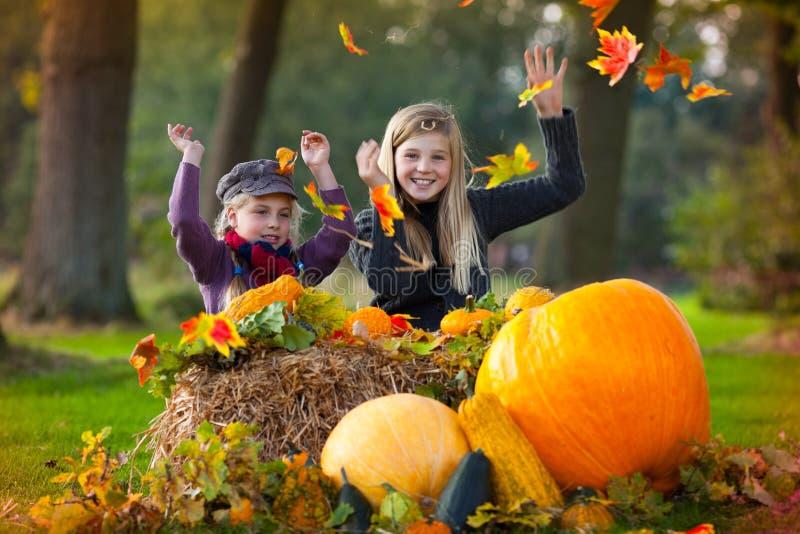 Dwa dziewczyny bawić się z jesień liść zdjęcia royalty free