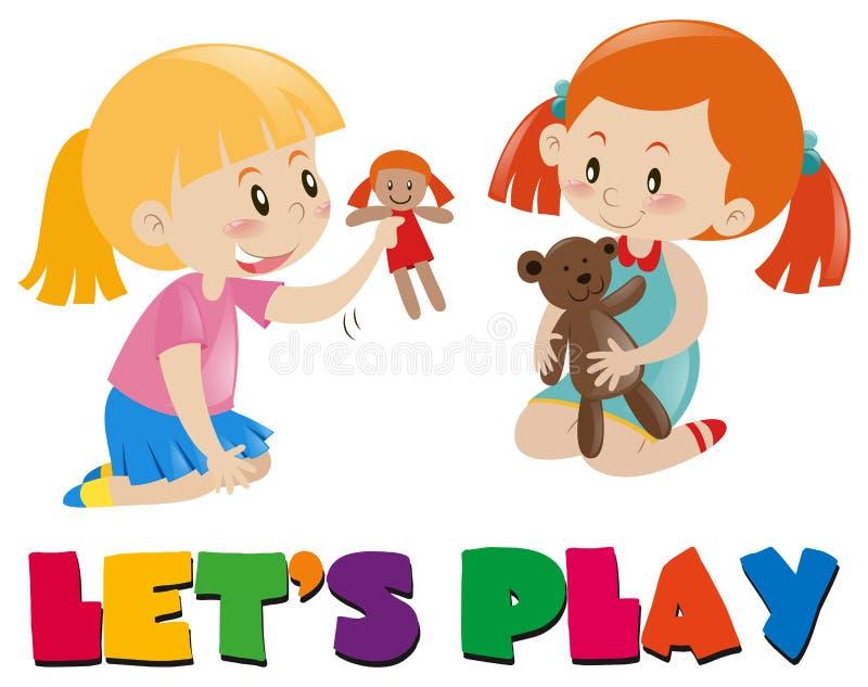 Dwa dziewczyny bawić się z lalami ilustracji