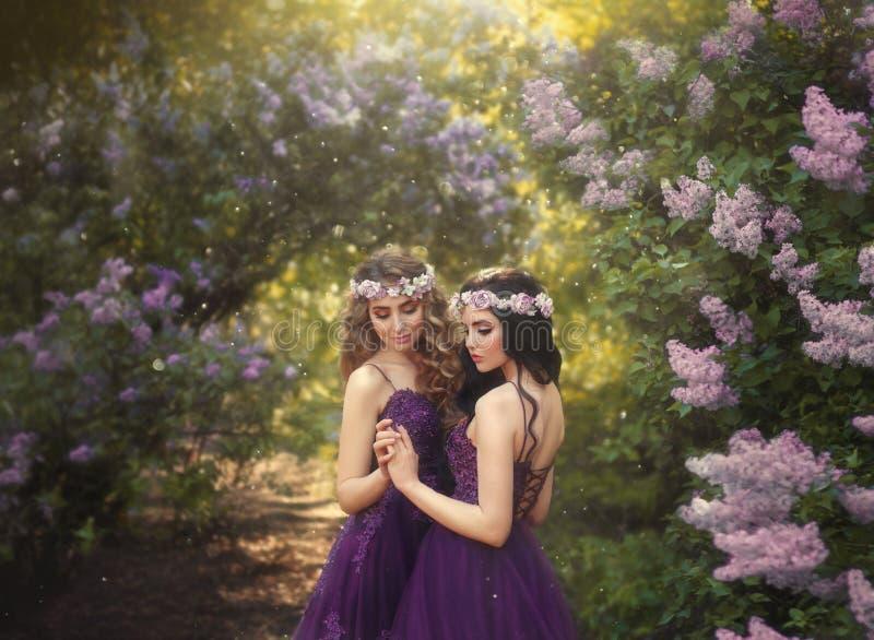 Dwa dziewczyny blondynka i brunetka z miłością ściska each inny, Tło piękny kwitnący bzu ogród Princ zdjęcie royalty free