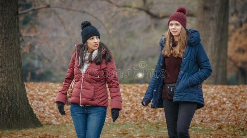 Dwa dziewczyny cieszą się naturę i ściszają przy central park Nowy Jork obraz stock